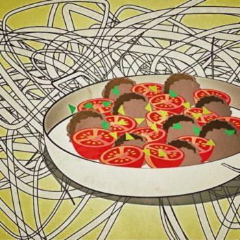 Hackbällchen, Tomate und Mozzarella aus dem Ofen mit Bandnudeln