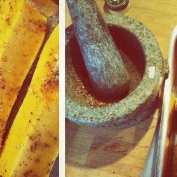kuerbis gebacken 350x350 - Vegane Topinambur Suppe