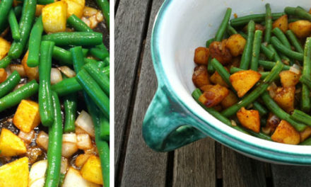 Lauwarmer Bratkartoffel Salat mit grünen Bohnen