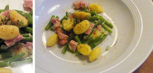 Gnocchipfanne mit Kasseler & grünen Bohnen