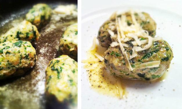 Spinatnockerl mit brauner Butter und Parmesan