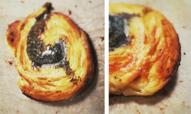Mohn Marzipan Schnecken aus Hefeblätterteig