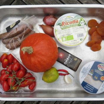 warenkorb Snapseed 350x350 - Scharfe Aprikosen-Kürbis-Suppe mit Ricotta und Schokolade