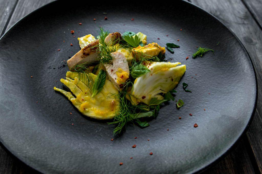 Fenchel Safran Salat mit Hühnchen