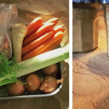 gemuesebruehe 350x350 - Auberginen Zucchini Pasta mit Schafskäse