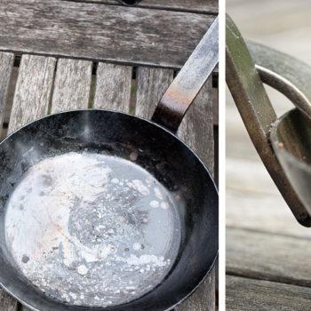 Eisenpfannen einbrennen