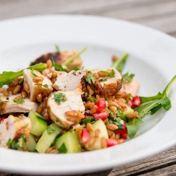 dinkel huhn salat 350x350 - Sommersalat mit Pulpo und Fenchel