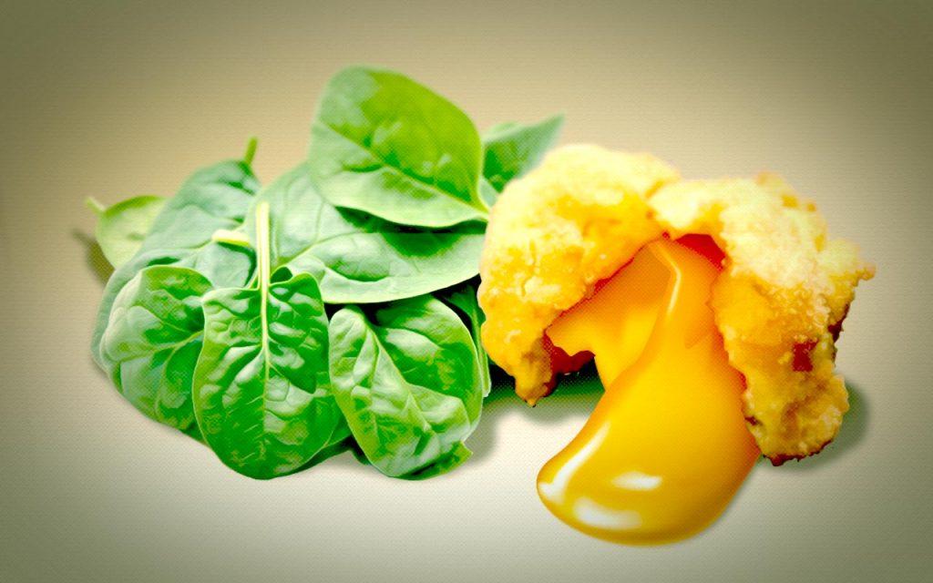 frittiertes eigelb 02 - Fritiertes Eigelb mit Spinat