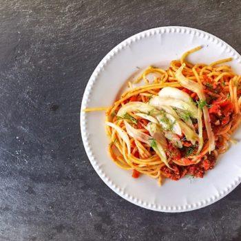 Nudeln Bolognese Fenchel Rezept 350x350 - Spaghetti mit Kürbismus