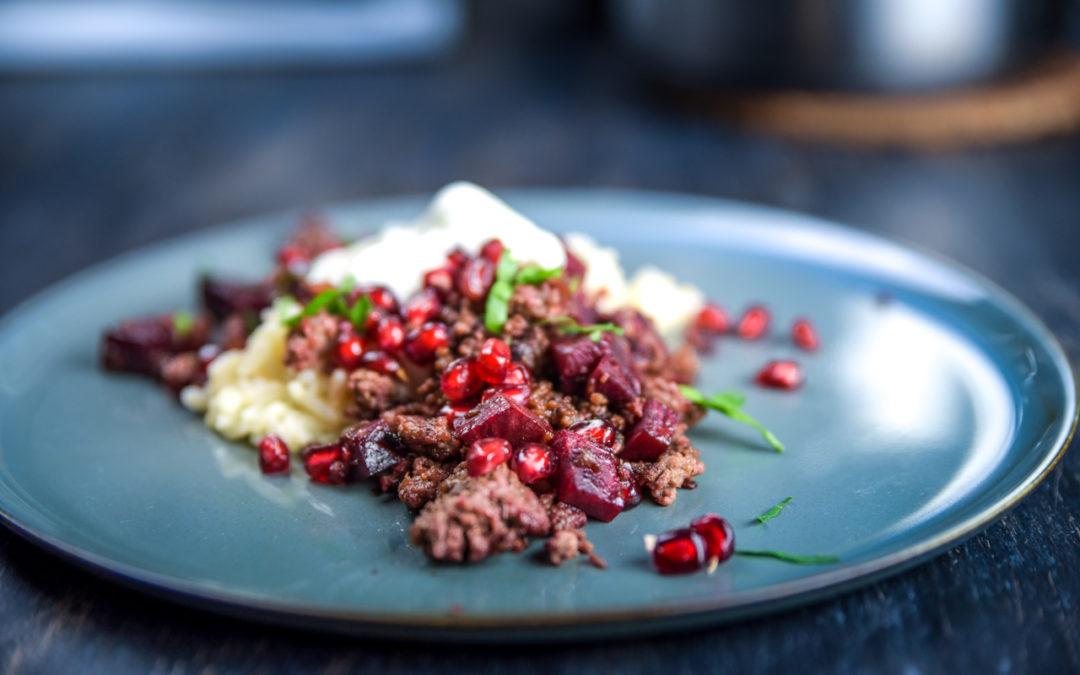 Persische Hackfleischpfanne mit Roter Beete