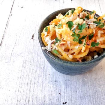 nudeln kuerbis mus vegetarisch pasta 350x350 - Spaghetti mit Fenchel-Bolognese