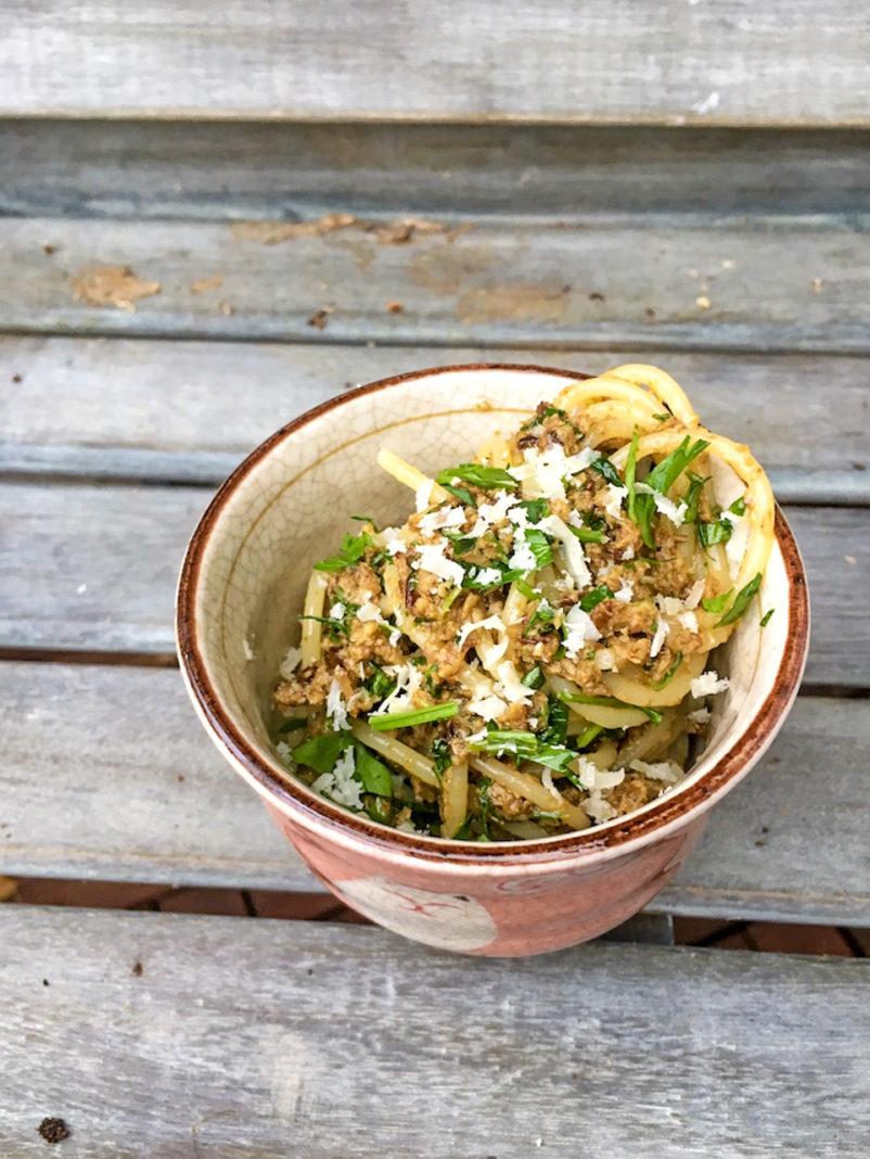 Rezept für Spaghetti mit Steinpilzpesto , vegetarisch. Von Pastamaniac