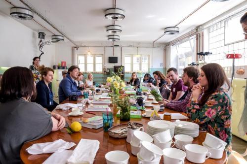 Frühstück mit Jamie Oliver in der Kochgarage in München.